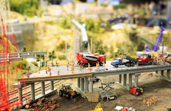 The construction of an overpass like a toy layout. Construction equipment and workers on the viaduct. layout Stock Photography