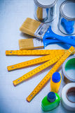 Construction paint tools with duct tapes and Royalty Free Stock Images