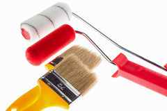 Construction paintbrushes and paint rollers Stock Photo