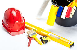 Construction (painting) tools and hardhat Stock Photos