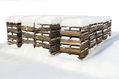 Construction pallets in the snow Stock Images