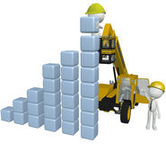 Construction people building business chart. Construction people build a business chart from stacks of cubes using 3D heavy equipment Royalty Free Stock Photo