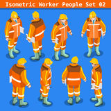 Construction 02 People Isometric. Construction Worker Collection. Blue Collar Male People in Unique Isometric Realistic Poses. NEW bright palette 3D Flat Vector Stock Photography