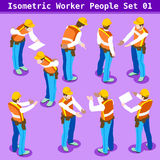 Construction 01 People Isometric. Construction Worker Collection. Blue Collar Male People in Unique Isometric Realistic Poses. NEW bright palette 3D Flat Vector Stock Photography