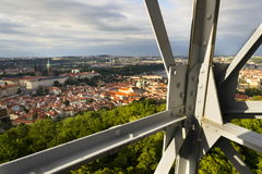 Construction of the Petrin lookout tower in Prague, Czech Republic Stock Images