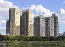 Construction phase of the complex high-rise buildings. China.Yiwu. Construction phase of the complex high-rise buildings.China.Yiwu Royalty Free Stock Image