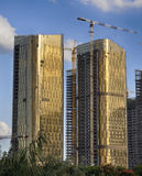 Construction phase of the complex high-rise buildings. China.Yiwu. Construction phase of the complex high-rise buildings.China.Yiwu Royalty Free Stock Photos