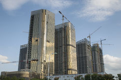 Construction phase of the complex high-rise buildings. China.Yiwu. Construction phase of the complex high-rise buildings.China.Yiwu Stock Image