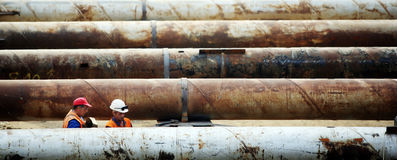 Construction pipe works stock photography