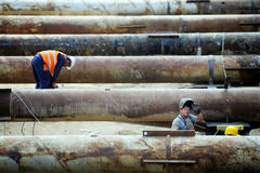Construction pipe works Royalty Free Stock Images