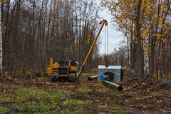 Construction of the pipeline on a forest . Stock Photography