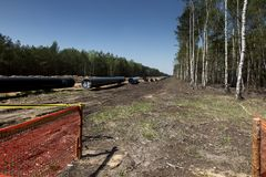 Construction of the pipeline of liquefied natural gas from the LNG terminal at Swinoujscie in Poland stock image