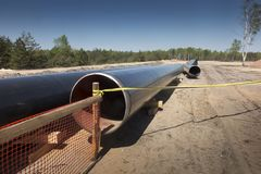 Construction of the pipeline of liquefied natural gas from the LNG terminal at Swinoujscie in Poland stock photos