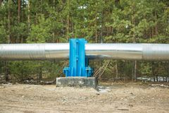 Construction of the pipeline along the coniferous forest. royalty free stock image