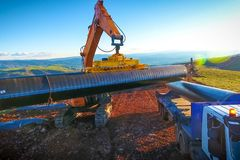 Construction of the pipeline. Site construction. Construction ma royalty free stock photos