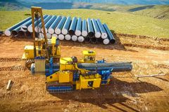 Construction of the pipeline. Site construction. Construction ma. Chinery stock photo