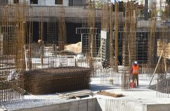 Construction pit with preparation of reinforcement and formwork for the construction of foundations royalty free stock image