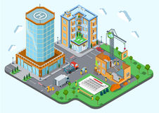 Construction place city concept modern trendy flat 3d isometric. Construction place in the city concept. Modern trendy flat 3d isometric infographic. Street Royalty Free Stock Photography