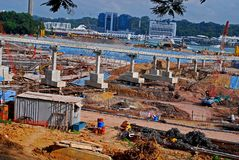 Construction place at the seaside Royalty Free Stock Photography