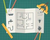 Construction plan blueprint Stock Images
