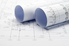 Construction plan blueprints Royalty Free Stock Images