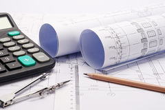 Construction plan blueprints with tools Stock Photo