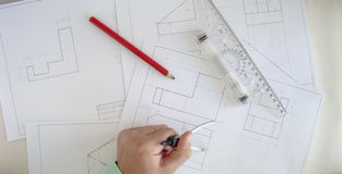Construction plan. Building a new home. We need a plan. Here drawings separate parts Royalty Free Stock Image