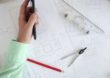 Construction plan. Building a new home. We need a plan. Here drawings separate parts Royalty Free Stock Photography
