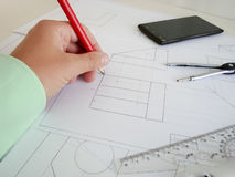 Construction plan. Building a new home. We need a plan. Here drawings separate parts Stock Photography