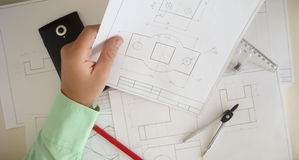 Construction plan. Building a new home. We need a plan. Here drawings separate parts Stock Images