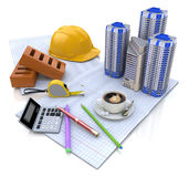 Construction plan buildings Royalty Free Stock Image