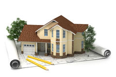 Construction plan with house and wood 3d Stock Images
