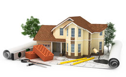 Construction plan with house, wood and pencil Royalty Free Stock Photography