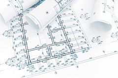 Construction plan, rolls of engineering blueprints. architectural background. Construction plan, rolls of technical blueprints. architectural background stock image