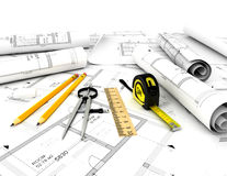 Construction plan with scale and pencil. 3d Royalty Free Stock Photos