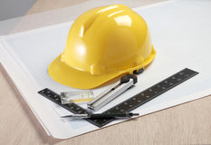 Construction plan and tool Royalty Free Stock Photos