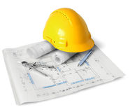 Construction plan tools. Construction drawings, tools and hard hat on white background