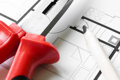 Construction Plan Tools Royalty Free Stock Photography