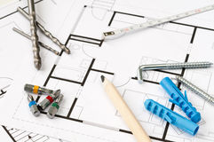 Construction Plan Tools. Building plan with selection of construction tools Stock Photos