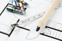 Construction Plan Tools Stock Photo