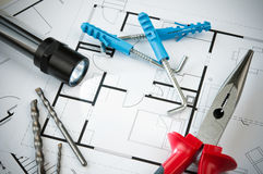 Construction Plan Tools. Building plan with selection of construction tools Stock Images