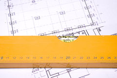 Construction planning. Photo of the house construction planning Royalty Free Stock Photos
