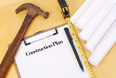 Construction Planning. With Tape Measure And Hammer Royalty Free Stock Photo