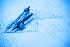 Construction planning and drawing tools Royalty Free Stock Image
