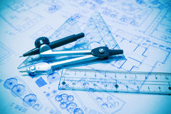 Construction planning and drawing tools Stock Photo