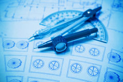 Construction planning and drawing tools Royalty Free Stock Photo