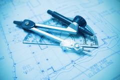 Construction planning and drawing tools Stock Images