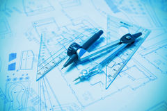 Construction planning and drawing tools Royalty Free Stock Photos