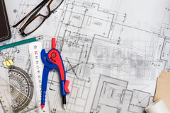Construction planning drawings on the table with pencils, ruler Royalty Free Stock Images