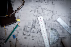 Construction planning drawings on the table with pencils, ruler Stock Images